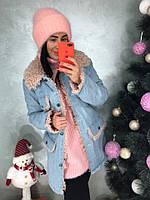 Женская куртка из денима на меху под овчину в расцветках. Д-3-1218