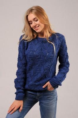 вязаный свитер женский темно синий 13155 купить недорого в