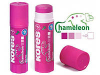 """Клей-карандаш Kores """"Chameleon"""", основа PVP, фиолетовый, 15г"""