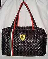 Сумка спортивная Puma Ferrari черная с полосками стеганный текстиль, фото 1