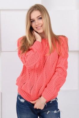 вязаный свитер женский коралл 13141 купить недорого в интернет