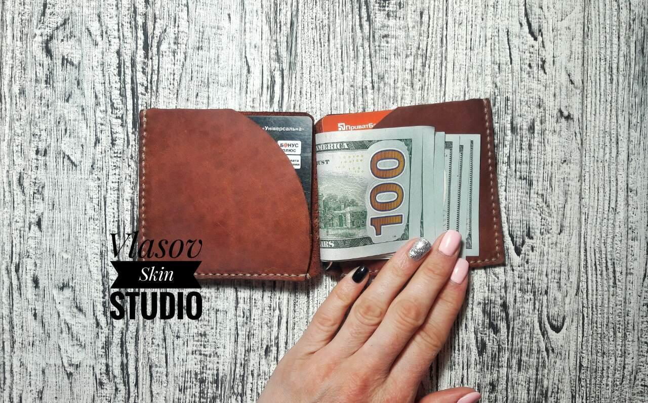 """Мужской коричневый кожаный зажим для денег """"Monuscript"""",коричневый"""