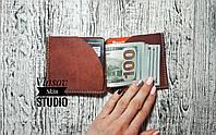 """Мужской коричневый кожаный зажим для денег """"Monuscript"""",коричневый, фото 1"""