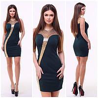 Нарядное платье / креп-дайвинг, пайетка на сетке / Украина 15-637