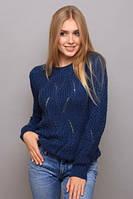 Теплый вязаный свитер (джинс) 131438