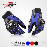 Мотоперчатки PRO BIKER BC-3902-M (PL,PVC,эластан, закрытые пальцы,р-р XL, черный,синий, красный) XL