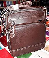 Мужская сумка на плечо Bradford 8923-3 на три отдела из искусственной кожи 24х28х8см  Коричневый, фото 1