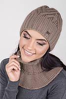 Вязаный женский комплект шапка и съемный воротник капучино