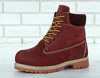 3ef8ce2205ae50 Женские ботинки Timberland 6 Inch Premium (в стиле Тимберленд Премиум)  бордовый, нубук,