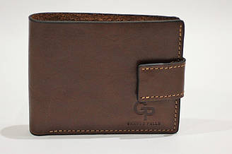 Коричневий глянцевый кожаный кошелек Grande Pelle (14595)