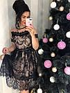Красивое женское платье миди беж с черным кружевом