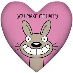 Подушка сердце You make me happy 37x37, 57x57 (4PS_15L033)