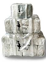 Набор из 3 прозрачных сумок в роддом Mommy Bag - S,L,XL - Белый