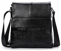 Мужская кожаная сумка почтальйонка из натуральной кожи Westal на ремне с тиснением. Сумка-барсетка.