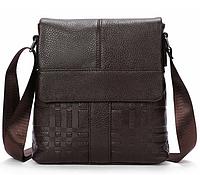 Мужская кожаная сумка почтальйонка из натуральной кожи Westal на ремне с тиснением (коричнева) Сумка-барсетка.