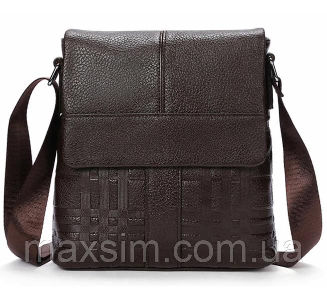 0888671a9e47 Мужская кожаная сумка почтальйонка из натуральной кожи Westal на ремне с  тиснением (коричнева) Сумка