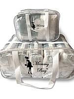 Набор из 2 прозрачных сумок в роддом Mommy Bag - S,L - Белые