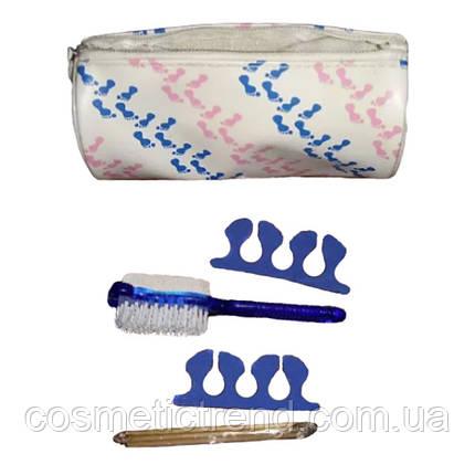Набор для педикюра Avon Foot Works (терка/щетка двусторонняя,палочки деревянные, сепараторы 2 шт, косметичка), фото 2