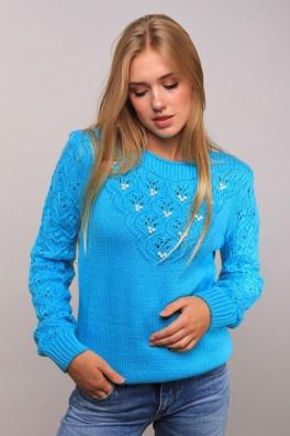 Теплый свитер вязаный (ментол) 13122