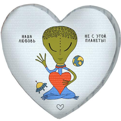 Подушка сердце 3D Наша любовь не с этой планеты! 40х40х7,5 см (3DPS_17L018)