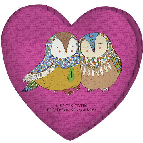 Подушка сердце 3D Мне так уютно под твоим крылышком! 40х40х7,5 см (3DPS_RSAN023)