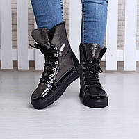 Серебряные кожаные женские ботинки на цигейке