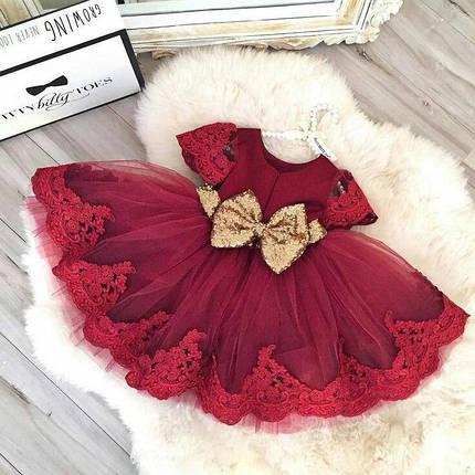 Платье нарядное детское  на девочку с бантом красное 6 мес-6 лет, фото 2