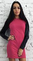 """Платье с кожаным рукавом """"Milana"""". Распродажа модели коралл, 42"""