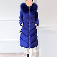 Зимнее пальто - парка с искусственным мехом синего цвета, фото 1