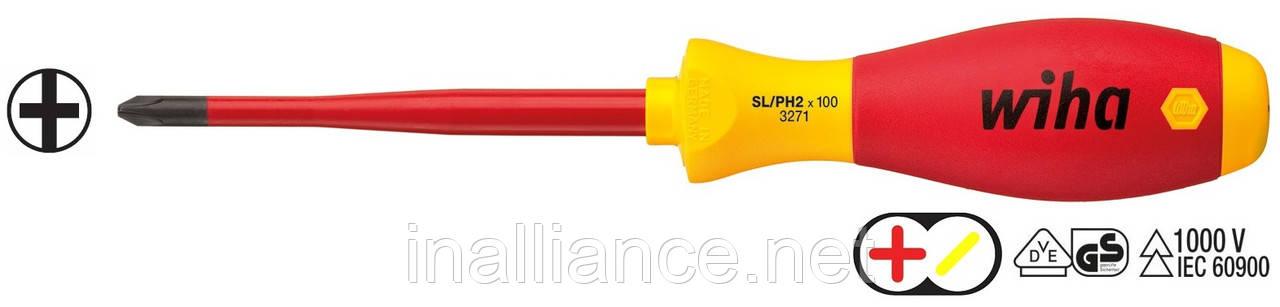 """Отвертка SL/PH 2 х 100 мм для зажимных винтов """"плюс"""" и """"минус"""" SoftFinish electric slimFix Xeno Wiha 35503"""