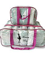 Набор из 2 прозрачных сумок в роддом Mommy Bag - S,L - Розовые