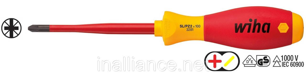"""Отвертка SL/PZ 2 х 100 мм для зажимных винтов """"плюс"""" и """"минус"""" SoftFinish electric slimFix Xeno Wiha 36330"""