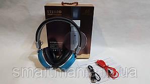 Беспроводные наушники Bluetooth стерео гарнитура JBL Wireless 68 FM радио/MP3 реплика Синий