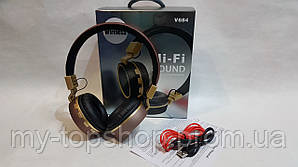 Беспроводные наушники Bluetooth стерео гарнитура JBL Wireless V684 FM радио/MP3 реплика Коричневый