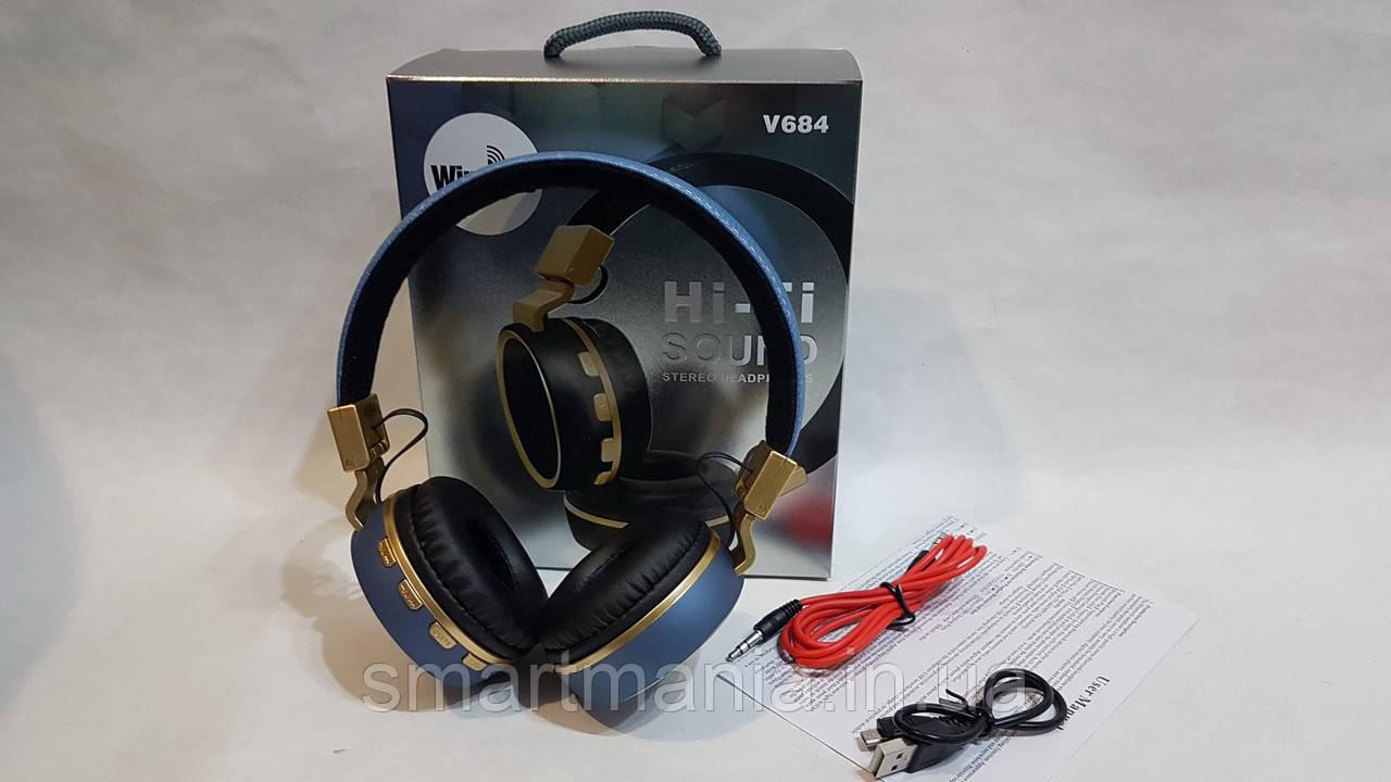 Беспроводные наушники Bluetooth стерео гарнитура JBL Wireless V684 FM радио/MP3 реплика Синий