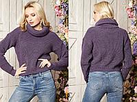 Вязаный женский шерстяной  свитер под горло, лаванда., фото 1
