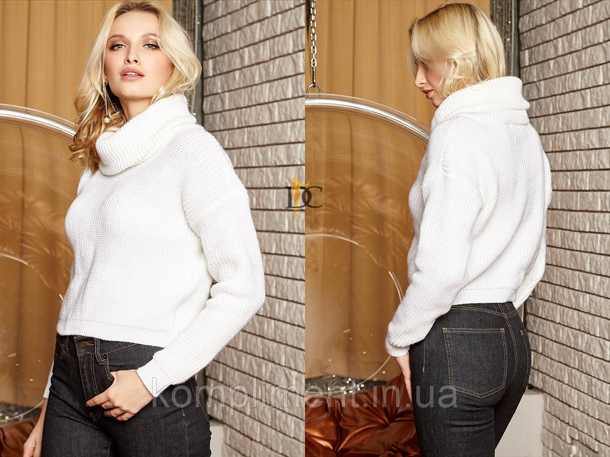 Вязаный женский шерстяной  свитер с высоким горлом,белый.