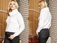 Вязаный женский шерстяной  свитер с высоким горлом,белый., фото 1