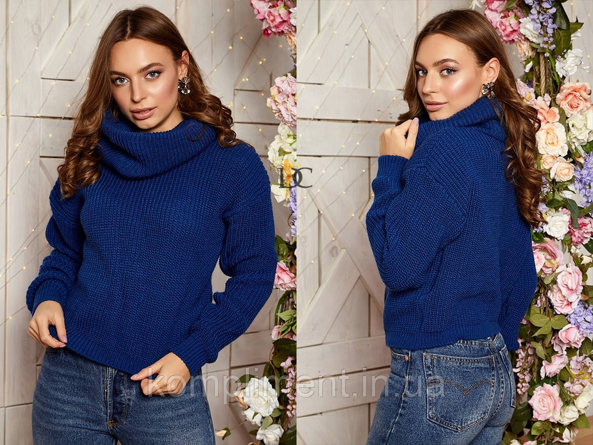 Вязаный женский шерстяной  свитер с высоким горлом,синий.