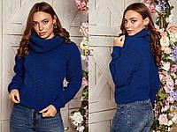 Вязаный женский шерстяной  свитер с высоким горлом,синий., фото 1