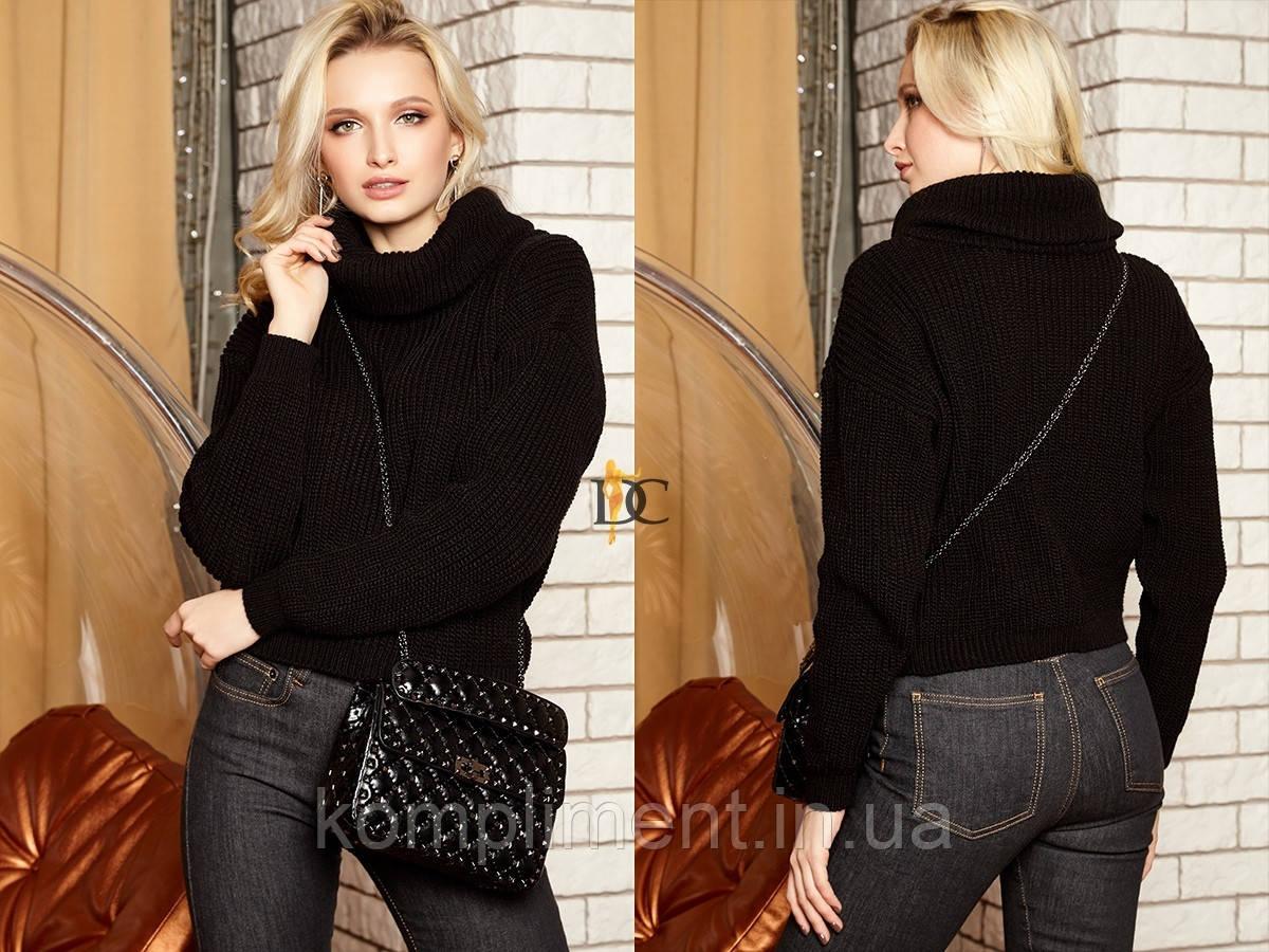 Вязаный женский шерстяной  свитер с высоким горлом,черный.