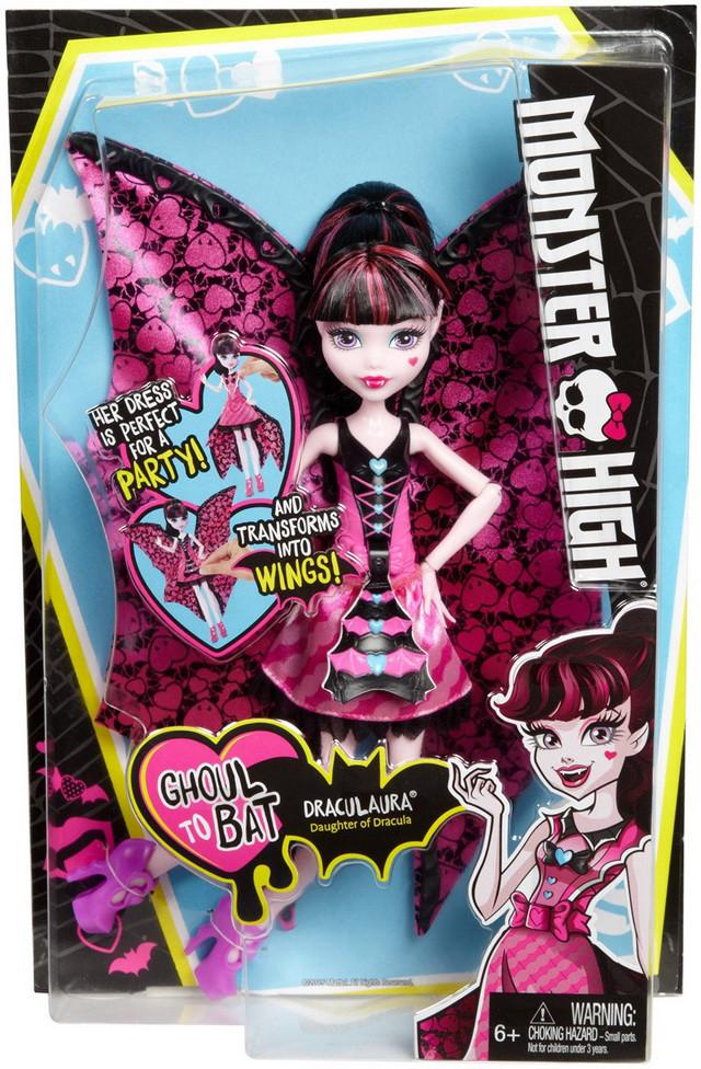 кукла трансформер монстер хай дракулаура летучая мышь с крыльями