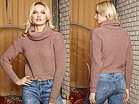 Вязаный женский шерстяной  свитер с высоким горлом,капучино., фото 1