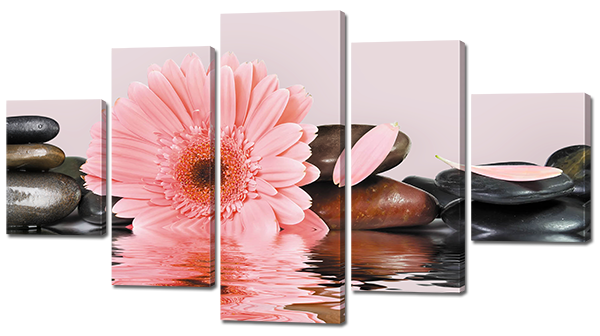 Модульная картина Interno Эко кожа Гербера и камни 142х80см (А785L)