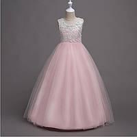 b975f89488b Нарядное вечернее платье для девочки бело розового цвета с гипюровым верхом  Д-101388-2