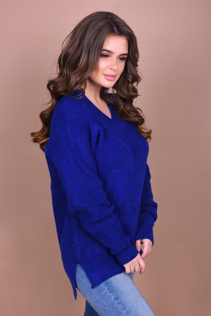 вязаный свитер с V образным вырезом в расцветках турция 1405 купить