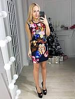 Женское платье с цветочным принтом с оконтовкой из кружева, фото 1