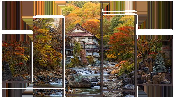 Модульная картина Interno Холст Дом у ручья 123х69см (R760M)