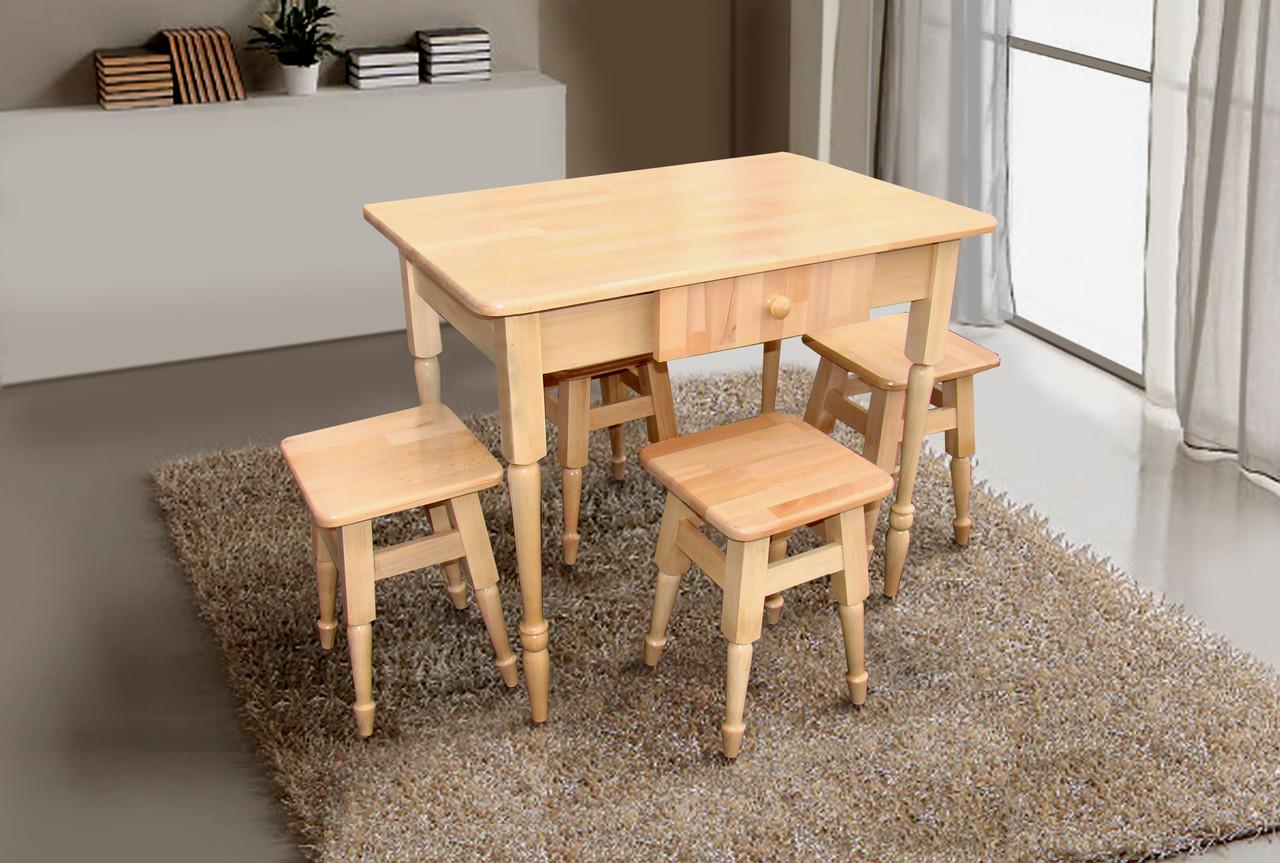 Комплект кухонный стол + 4 табурета (бук светлый)
