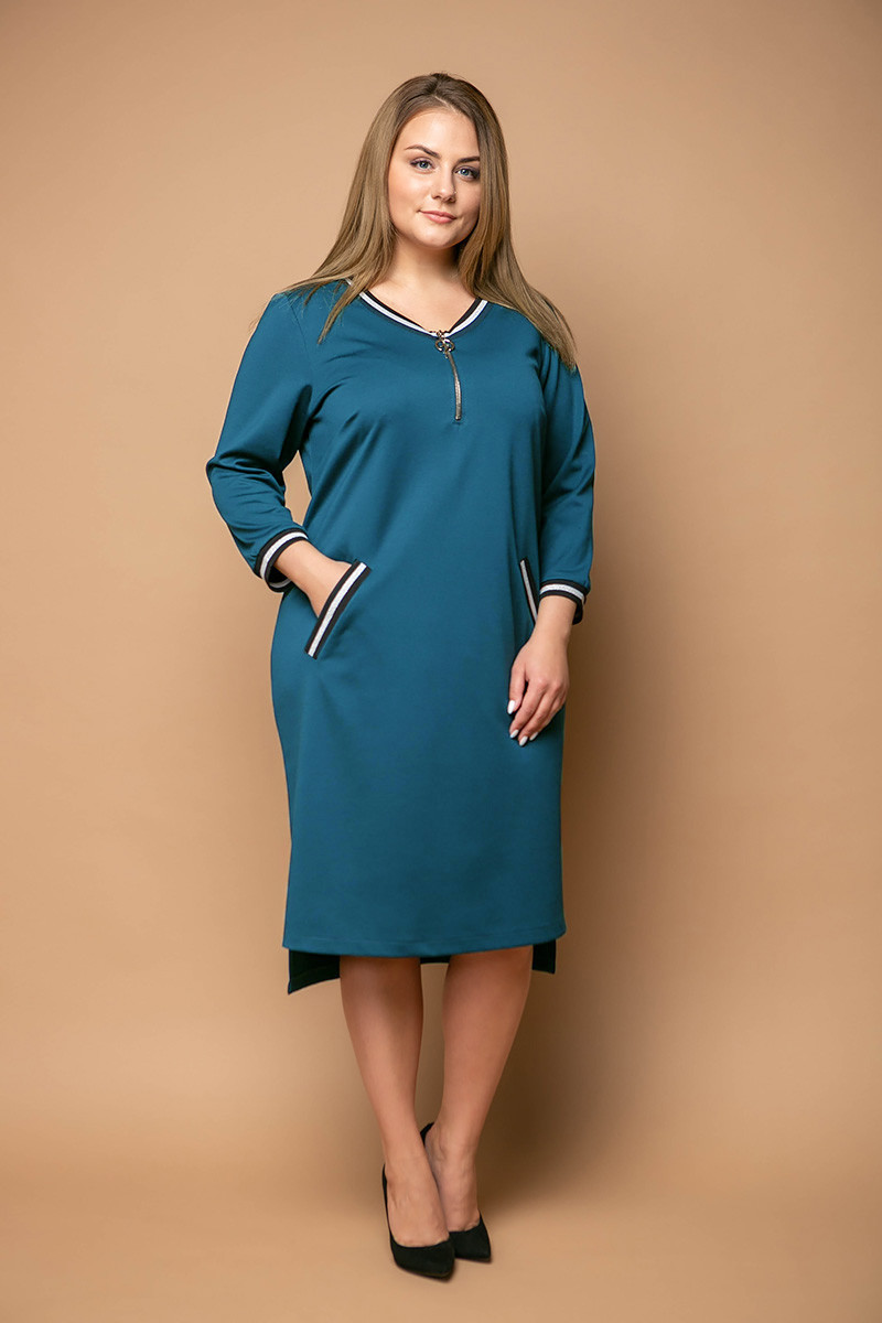 08bd6dce84b Повседневное платье для полных женщин Бланш бирюза 58 - V Mode